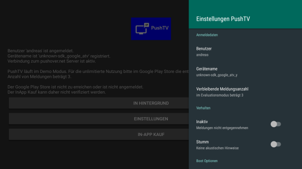 PushTV - Push-Meldungen auf dem Fire TV Screenshot