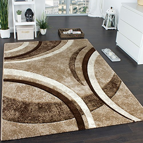 Paco Home Tappeto di Design con Bordo Definito A Righe Marrone Beige Crema Screziato,...