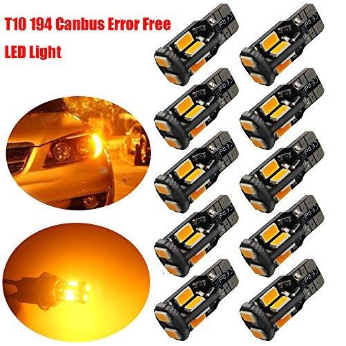 10-Pack T10 194 168 W5W 2825 Ambra Brillante/Giallo 550Lums Errore Canbus Free 12V LED Light, 10-SMD...