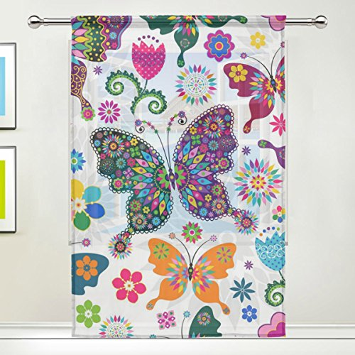 jstel diseño de mariposas diseño de flores de tul de gasa Puerta Ventana Habitación Cortina De Sheer Drape Panel 1diseño de girasoles amplio ancho gasa cortina para dormitorio 55x 78cm, solo Panel, poliéster, 55 x 84 Inch