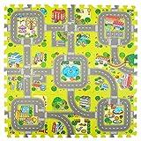Pink Papaya Alfombra Puzzle de Ciudad - Baldosas de Espuma con Calles - 92x92 cm 9 Piezas - Suelo de...