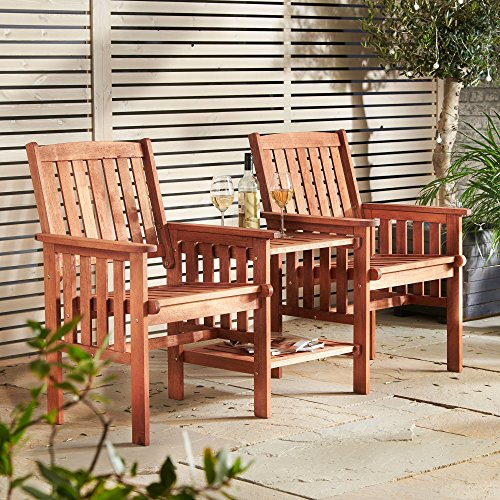 vonhaus garden love seat bench2 seater hardwood