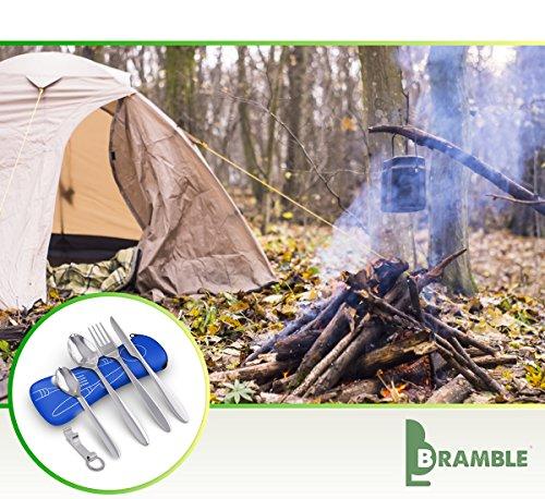 BRAMBLE! 5 Premium Acero Inoxidable Set de Cubiertos Portátiles para Llevar, Viajes, Trabajo, Acampada/Camping, Picnic - Cuchara Tenedor Cucharita Cuchillo Abridor de Botellas| Estuche de Neopreno 1