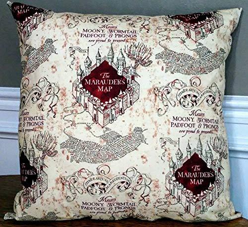 Toll2452 - Cuscino Decorativo con Mappa di Harry Potter e Castello di Hogwarts