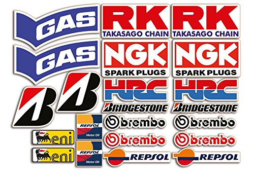 Pegatinas moto Set de 22 pegatinas Honda, Yamaha, Ducati, Suzuki, BMW o Aprilia