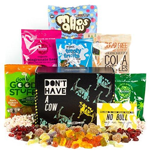 Caja de dulces veganos This Box Rocks para regalo con 6 bolsas de dulces sin gelatina en una carismática caja de regalo