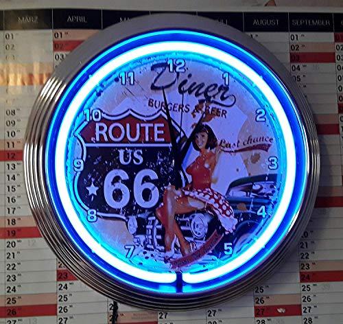 Neon Neon Orologio Clock Pinup Route 66Diner Orologio da parete luci al neon blu, disponibile anche con altre Neon Colori.