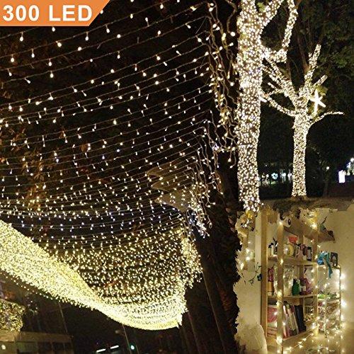 Uping Catena Luminosa Stringa di Luci 300 LED, per Festa Giardino Natale Halloween Matrimonio(Bianca...