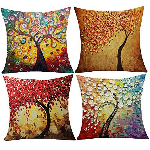 JOTOM Fodera per Cuscino Cotone Lino Fodere per Cuscini Federa Divano Auto Cuscino Home Bed Decor 45 x 45 cm,Set di 4 (Albero della Pittura a Olio)