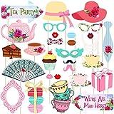 Descrizione Funny Tea Party Photo Booth Puntelli include 30 pezzi di design diverso, tra cui tazze da té, cupcakes, baffi, occhiali, ventola, ecc.Tieni il puntello davanti al tuo viso, sopra la testa e così via, per scattare una foto che vuoi in qual...