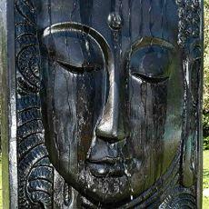 wanda collection Fuente Grande de jardín Pared de Agua Rostro de Buda 2,10 m Negro