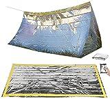 Semptec Urban Survival Technology Unisex- Erwachsene NC-1068 Notzelt: Survival-Set mit Notfall-Zelt und Folien-Schlafsack (Rettungssack), Silber, 210 x 90 cm