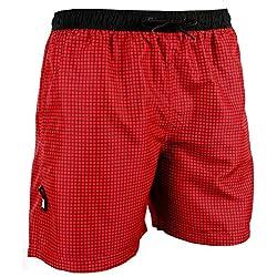 GUGGEN Banador de Natacion para Hombre Traje de Bano Checked Color Roja XL