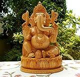 Madera Estatua Ganesh - talladas a mano Sentado en Escultura Lotus- hindú del elefante Ganesha Madera - Dios de la prosperidad y la fortuna Ganpati Vinayak India deidad hindú Dios Figurita