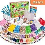 Joyjoz 164 Pcs Slime Kit,Slime Herramientas para artesanía de Bricolaje Incluyen Fishbowl Beads, Bolas Espuma, apel azúcar, Glitter, Confeti para Niñas y Niños Slime DIY Making (No limo)