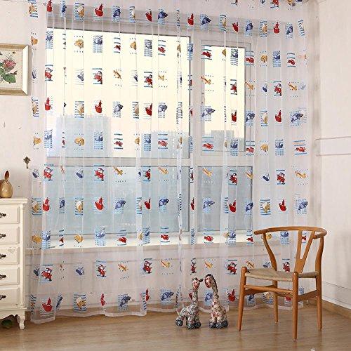 everpert Toddler niños patrón de coche Panel de gasa Sheer puerta habitación ventana Drape cortinas