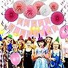 Geburtstag Party Dekoration Set, Bliqniq 43x Deko Zubehör Happy Birthday Banner Grilande mit Seiden Ponpoms Papierfächer und Luftballons Spiralen für Junge und Mächen Kindergerburtstagsfeier, Leicht zusammen Legen