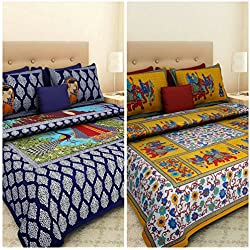 Suraaj Fashion Cotton Jaipuri 2 Double Bed Bedsheets with 4 Pillow Covers, Multicolour