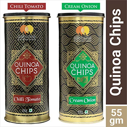 QUEENS QUINOA People's Flavoured Chips -Combo Pack (1 Tomato and 1 Cream and Onion)