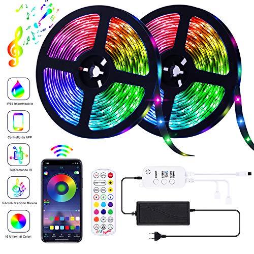 AOTIBESO Striscia LED RGB 10M Strisce Luminose Luci LED Strip Lights 300LEDs SMD5050 Impermeabili +...