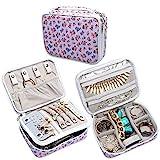 Teamoy Custodia per gioielli da viaggio, contenitore multifunzionale per anelli, orologi, bracciali, collane e orecchini  (NESSUN ACCESSORI INCLUSI), (Medium, Purple Flowers)