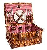 eGenuss LYP15022RED Cesta de Picknick tradicional color rojo con loza de ceramica, cubiertos de acero inox y tazas de vino para 2 personas. Tamano: 42 cm (L) X 30 cm (C) X 20 cm (A)