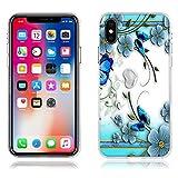Funda iPhone X Carcasa de Silicona Transparente TPU, Hermoso Dibujo en Relieve de Mariposas, Flexible -FUBAODA- Resistente a Los Arañazos en su Parte Trasera, Amortigua los Golpes, Funda Protectora Anti-golpes para iPhone X