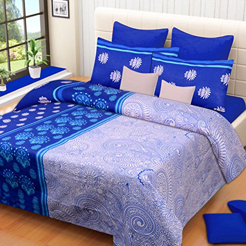 Home Elite 104 TC 100% Cotton Multicolor Printed 1 Single Bedsheet with 1 Pillow Cover