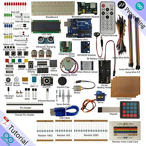 Freenove Ultimate Starter Kit for Arduino | Beginner Learning | Uno R3 Mega Nano Micro | Processing Oscilloscope Voltmeter | 51 Projects, 260 Pages Detailed Tutorials, 210+ Components