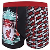 Liverpool FC Mens Crest Boxer Shorts YNWA Black & Grey Medium