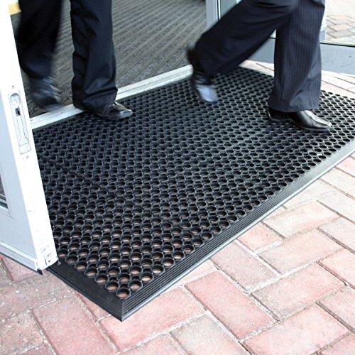 Grande tappetino d'entrata in gomma da esterni, tappetino antiscivolo drenante–3taglie...