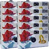 10 x Photo PORST boda Cámara/cámara desechable 'Rosa Roja + anillos' (con flash luz y pilas, por 27 fotos, ISO 400 Fuji)