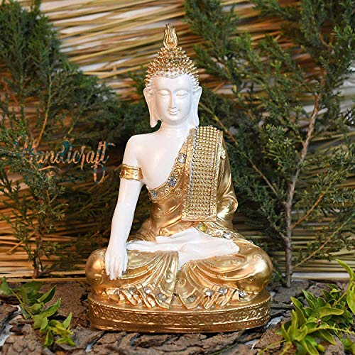 HHI Polyresin Sitting Buddha Idol Statue Showpiece for Home Décor (Golden)