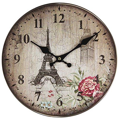 Perla PD Design, Orologio da parete, orologio da cucina, vintage design ca. Ø 28 cm Diametro...
