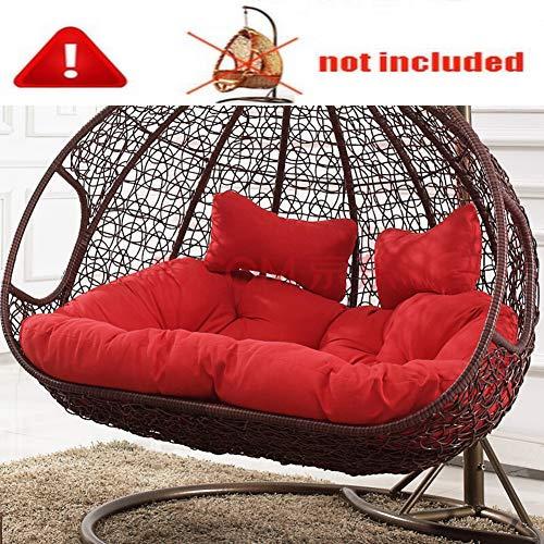 Single Rattan Hängesessel Swing Sitzkissen Dick Swing Chair Stuhlkissen Balkon Bird's Nest Stuhlkissen Hof Garten Sessel Sitzkissen(Nicht Einschließen Hängende Stühle)-rot Doppelt