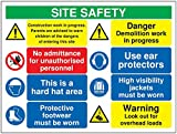 "Signs and Labels AMZMM096ASRP""Site Safety Construction work"" Mandatory Safety Sign, 1.2 mm Rigid Polypropylene, 600 mm Length x 800 mm Width"