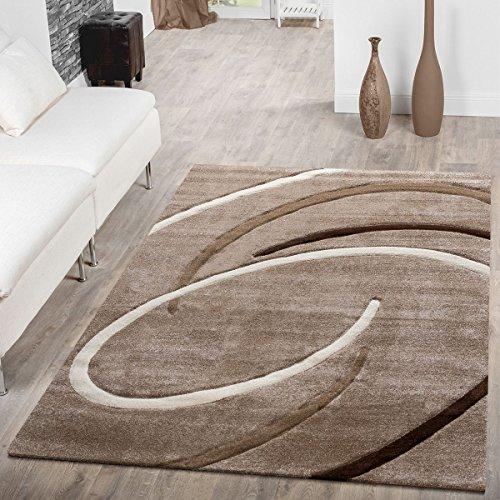 T&T Design Tappeto A Pelo Corto Per Soggiorno Moderno Ebro Con Motivo A Spirali Beige Marrone Mocca,...