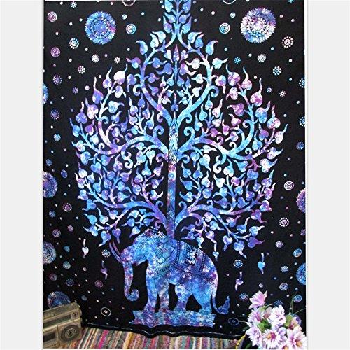 Tapiz Mandala, diseño de árbol de la vida, elefante y flores, estilo bohemio y hippie, para colgar en la pared o para utilizar como mantel de pícnic, manta, colcha, cortina, decoración de mesa, funda de sofá, para la playa, yoga, etc., B, large