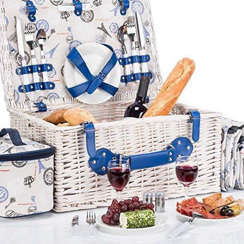 Goods & Gadgets Picknickkorb für 4 Personen Weidenkorb für Picknick mit Picknickdecke und Kühltasche