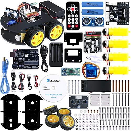 Elegoo Progetto Robot Auto Car V3.0 con Tutorial in Italiano con Modulo Segui Linea, Sensore a Ultrasuoni, Modulo Bluetooth Lultimo Gioco Intelligente ed Educativo per Bambini