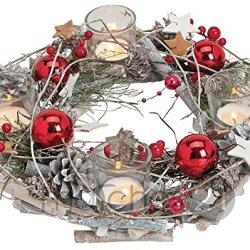floristikvergleich.de matches21 Adventskranz aus Holz rund 29×8 cm mit Gläsern als Teelichthalter & weihnachtlicher Dekoration in rot