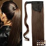 23' Queue de Cheval Postiche Extension de Cheveux Lisse - Wrap Around...