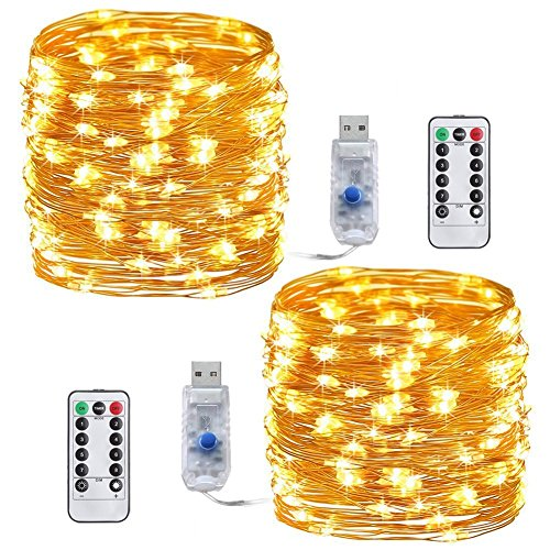 Stringa Luci Led, [2pack] USB 10M 100 LEDs Filo di Rame Catene Luminose Dimmerabile Funzione Timer...