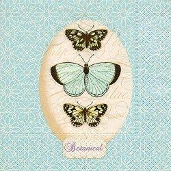floristikvergleich.de 20 Servietten A Breath of light blue ? Schmetterlinge auf hellblau / Tiere 33x33cm
