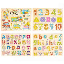 4 Pcs Puzzle in Legno Per Bebè – Puzzle Veicoli Lettere Alfabeto Abc, Numeri En Forme Per App