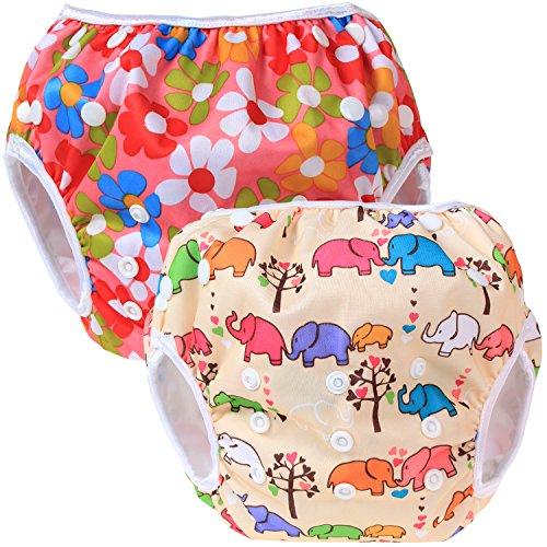 Teamoy 2pcs Baby Nappy riutilizzabile pannolino da nuoto, Flowers Pink+ Elephants