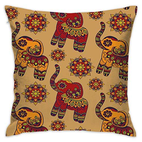 Zhengzho Fodera per Cuscino Decorativo Quadrato con Motivo Floreale Elefante thailandese per Divano...