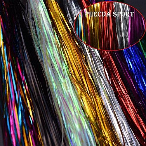 10 Pezzi Colori Differenti Flash Tinsel de Larghezza di 1 MM Materiale per Mosche de Pesca (10 Colori di Linea)