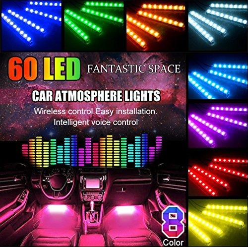 LED Auto Interni, POMILE Luci Abitacolo 4x15 LED per Interni Auto con Telecomando per Musica la...