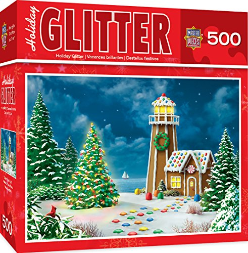 Masterpieces 31732Holiday glitter Gingerbread Light puzzle, 38,1x 53,3cm